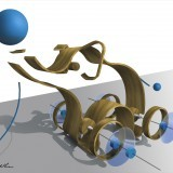 ribbon style pull toy exploded view - Photoshop rendering