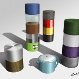 hand-rendered material tubes - Photoshop rendering